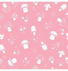 Flowers and mushrooms nature pastel kids pattern vector