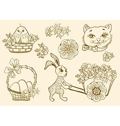 Hand drawn doodle easter symbols vector