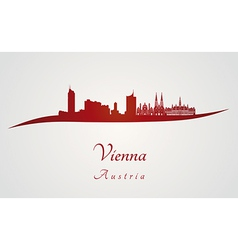 Vienna skyline in red vector