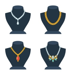 Set of store mannequins for jewelry shop vector