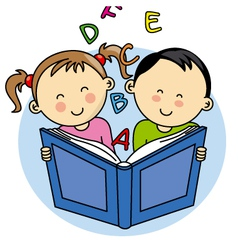 Children reading a book vector