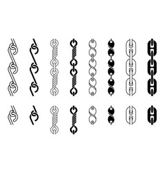 Metal chain parts set vector