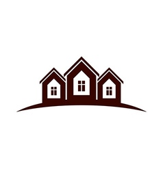 Abstract houses with horizon line can be used in vector