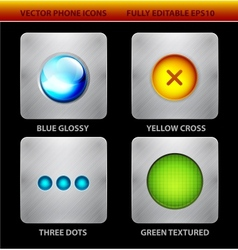 Glossy circles mobile app icons vector