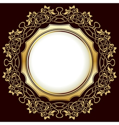 Gold vintage frame with floral ornamental border vector