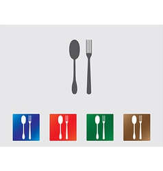 Spoon and fork icons vector