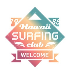 Prhawaii surfing club vintage label with waves vector
