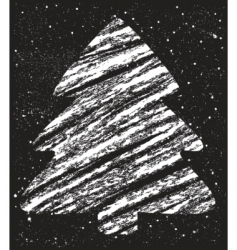 Abstract christmas tree chalk drawing vector