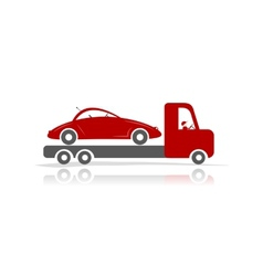 Evacuator with car for your design vector