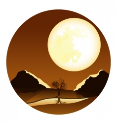 Landscape with moon vector