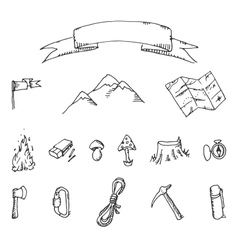 Camping adventure set doodle vector