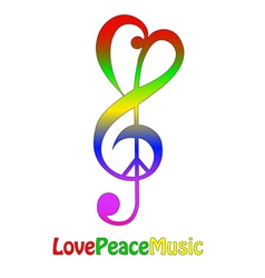 Love peace and music isolated on white vector