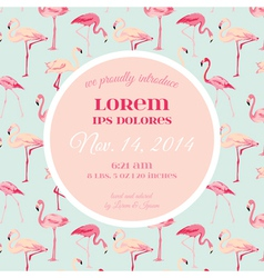 Baby arrival or shower card - with flamingo vector