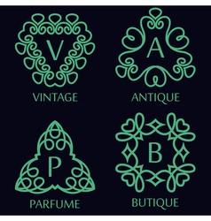 Set of monochrome monogram design templates vector