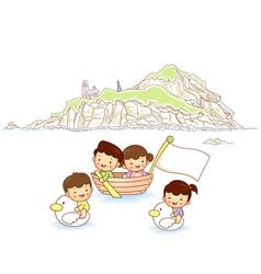 Children ocean travel vector