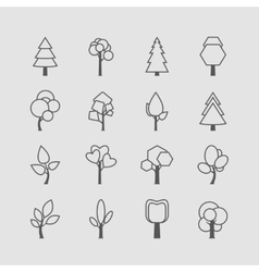 Assorted outlined tree icon set vector