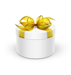 White round gift box with yellow ribbon and bow vector