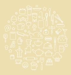 Kitchen and food outline icons vector