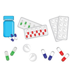 Different medical bottles and tablets vector