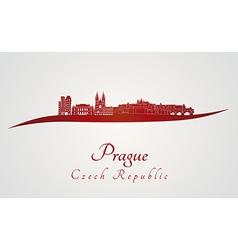 Prague skyline in red vector