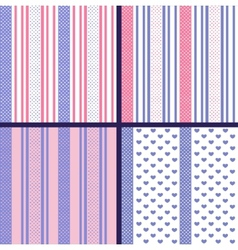 Pastel striped seamless patterns with hearts vector