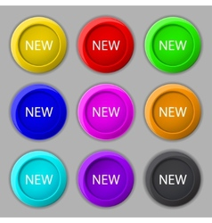New sign icon arrival button symbol set of colored vector