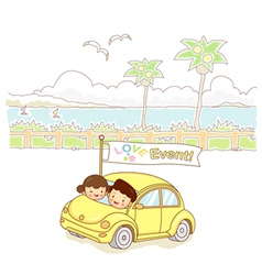 Lovers of cars traveling vector