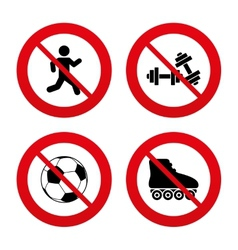 Football ball roller skates running icons vector