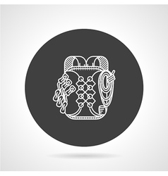 Hike backpack black round icon vector
