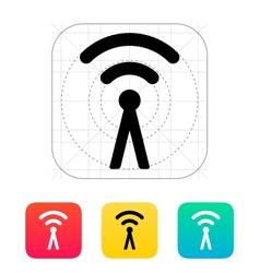 Antenna broadcasting radio signal icon vector