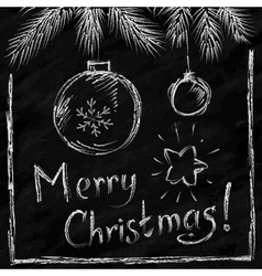 Merry christmas lettering and balls in naive vector