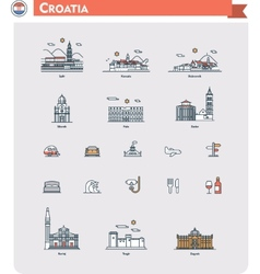 Croatia travel icon set vector