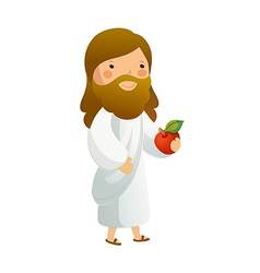 Close-up of jesus christ holding fruit vector