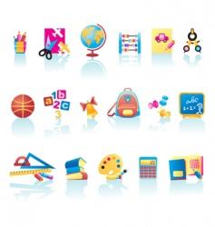 School supplies icons vector