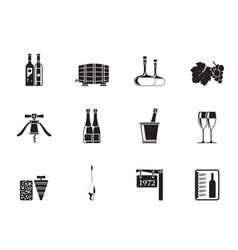 Silhouette wine and drink icons vector
