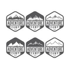 Set of vintage labels adventure camp vector