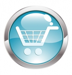 Gloss button with shopping cart vector