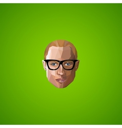 With an caucasian guy face in polygonal style vector