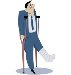 Injured man on crutches vector