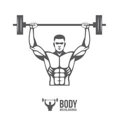 Bodybuilder lifting barbell vector