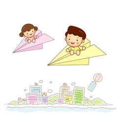Paper airplane kids travel vector