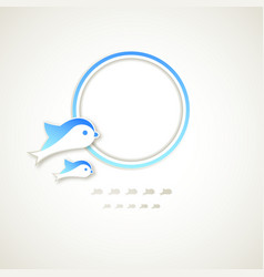 Vintage round frame with dolphins vector