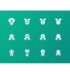 Award medal icons on green background vector