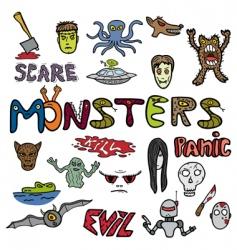Monster doodles vector