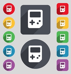 Tetris icon sign a set of 12 colored buttons and a vector