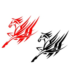 Tribal horse in black and red version vector