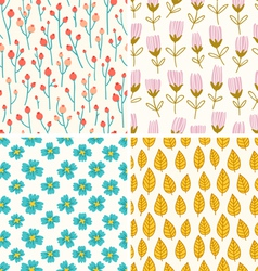 Berries and flowers patterns vector