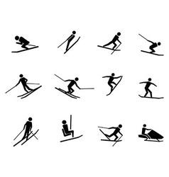 Ski icons set vector