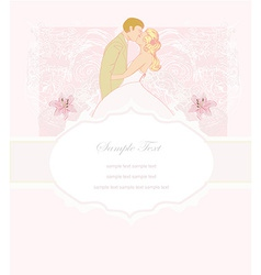 Elegant wedding invitation with kissing wedding vector