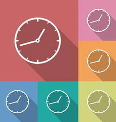 Icon of clock flat style long shadow vector